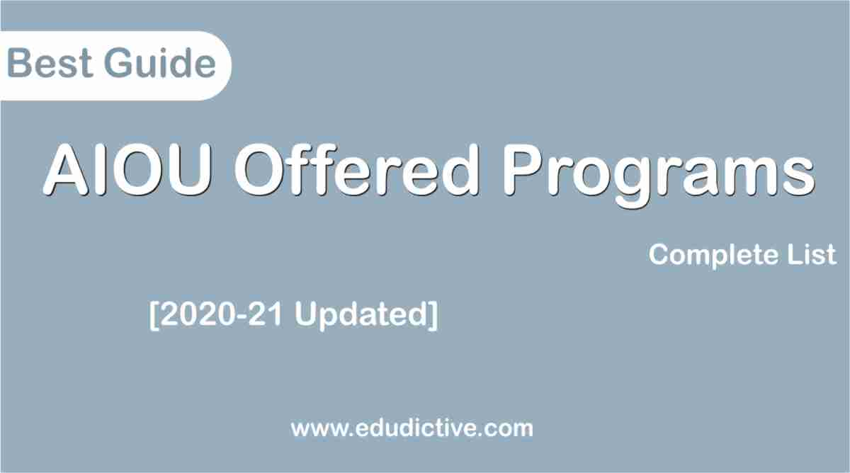 AIOU Programs offered edudictive.com
