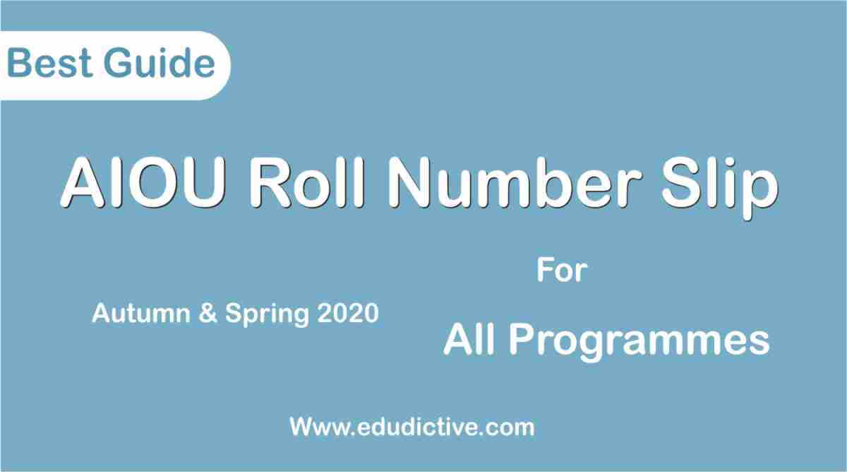 AIOU Roll Number Slip 2020