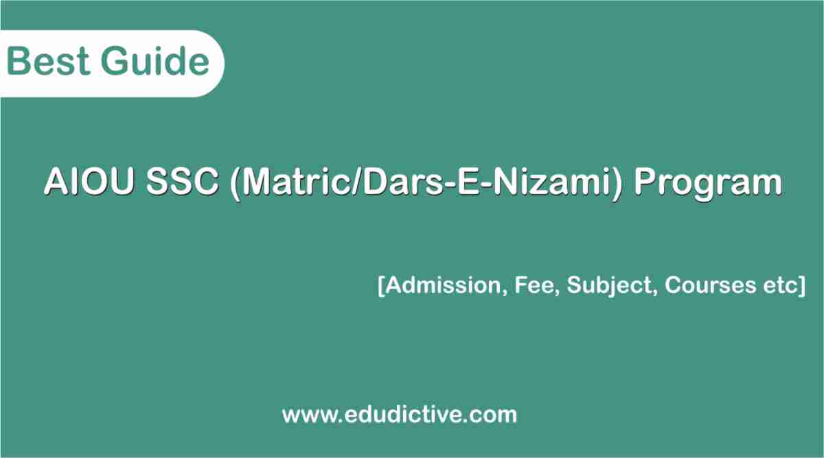 AIOU SSC Program (Matric/Dars-E-Nizami)