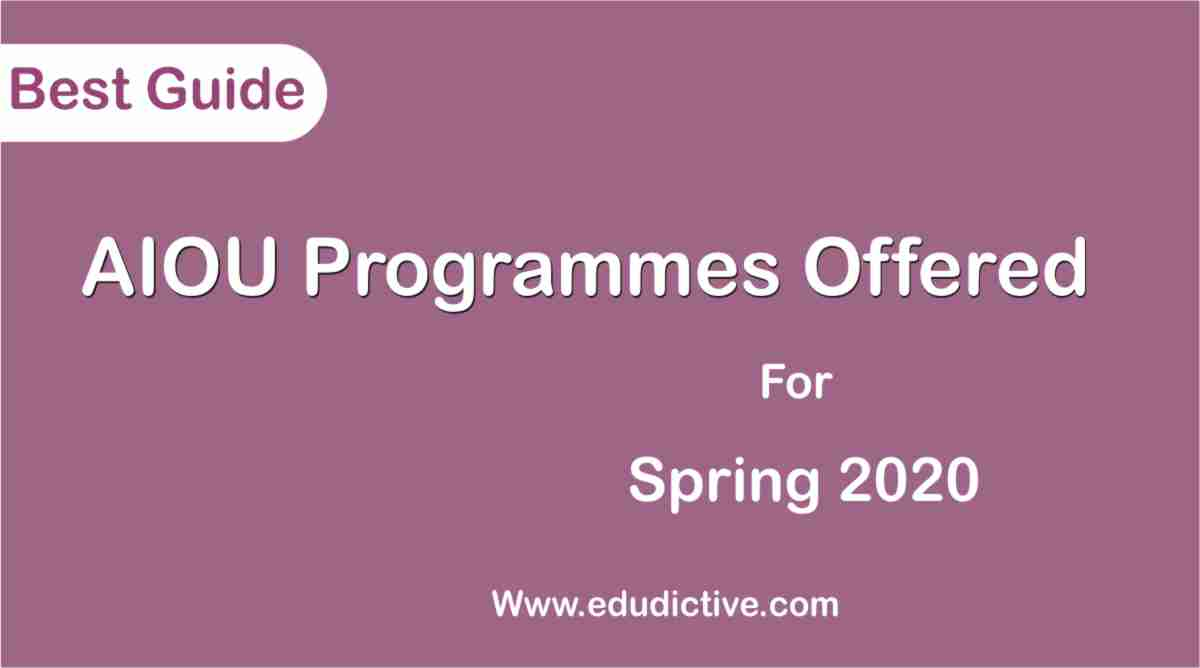 AIOU Program list for spring 2020