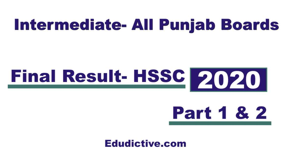 Intermediate Result 2020 for HSSC Punjab Baords