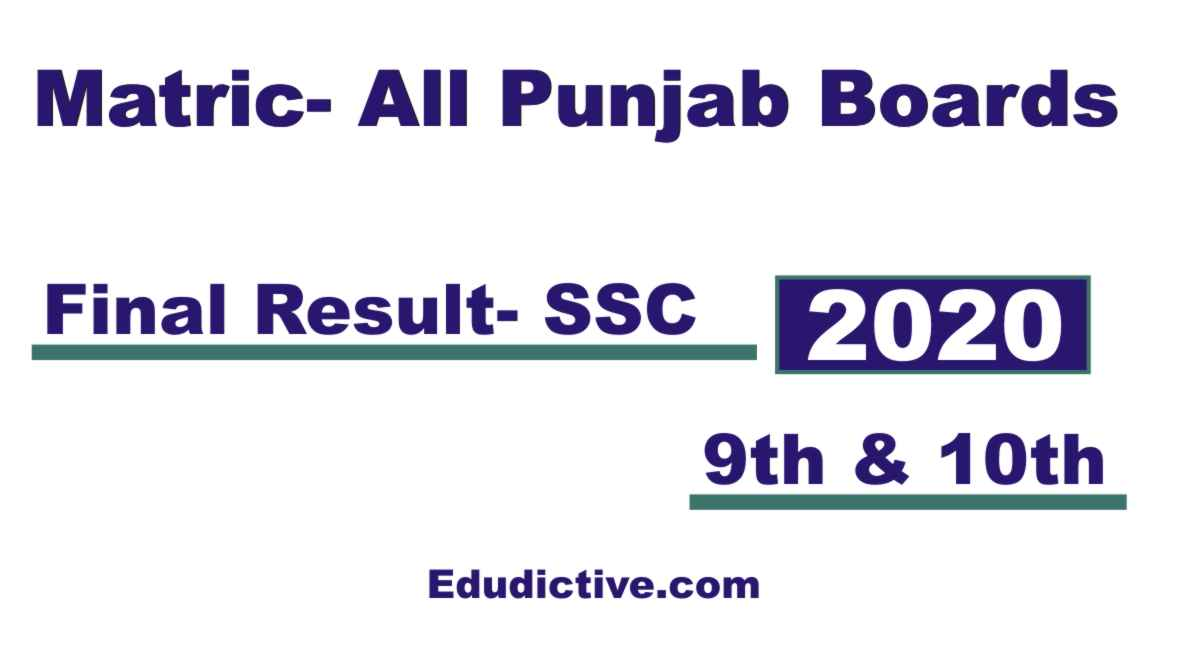 Matric Result 2020 for All Punjab Boards 9th and 10th class date