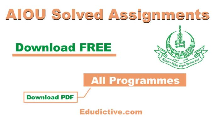 AIOU Solved Assignments for All programs in PDf